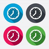 Clock time sign icon. Mechanical watch symbol.