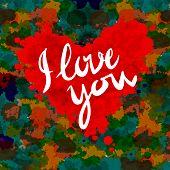 heart, i love you, colorful paint splash illustration vector background