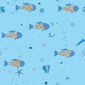 Fish In Sea, Underwater Pattern. Vector Seamless Texture