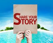 Share Your Story card with a beach background