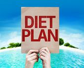 Diet Plan card with a beach background