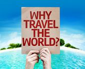 Why Travel The World? card with a beach on background