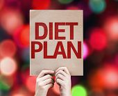 Diet Plan card with colorful background with defocused lights