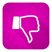 dislike violet flat icon, christmas button, thumb down sign