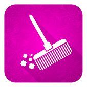 broom violet flat icon, christmas button, clean sign
