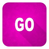 go violet flat icon, christmas button