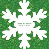Vector ecology symbols Christmas snowflake silhouette pattern frame card template