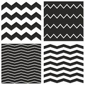 Tile vector chevron pattern set with black zig zag on white background