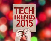Tech Trends 2015 card with colorful background with defocused lights