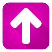 up arrow violet flat icon, christmas button, arrow sign