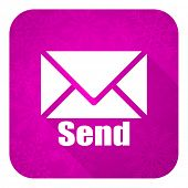 send violet flat icon, christmas button, post sign