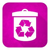 recycle violet flat icon, christmas button, recycling sign
