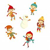 Winter Little girl snowman, Christmas boy snow  children vector set