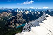 pic of mountain-range  - Mountains range view from Mt Temple with Moraine lake Banff Rocky Mountains Alberta Canada - JPG