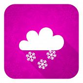 snowing violet flat icon, christmas button, waether forecast sign