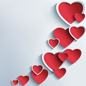 Постер, плакат: Trendy Abstract Background With 3D Hearts