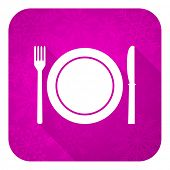 eat violet flat icon, christmas button, restaurant symbol