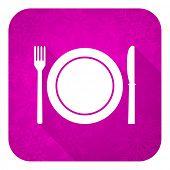 eat violet flat icon, christmas button, restaurant symbol