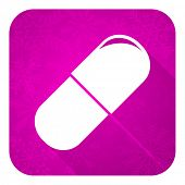 drugs violet flat icon, christmas button, medical sign