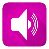 volume violet flat icon, christmas button, music sign
