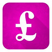 pound violet flat icon, christmas button