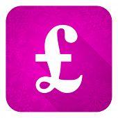 pound violet flat icon, christmas button