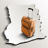 Travel To Ghana. Orange Suitcase On 3D Map Of The Country
