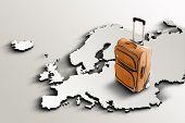 Travel To Europe. Orange Suitcase On 3D Map
