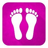 foot violet flat icon, christmas button