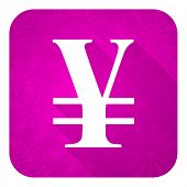 yen violet flat icon, christmas button