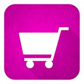 cart violet flat icon, christmas button, shop sign