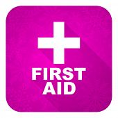 first aid violet flat icon, christmas button