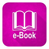 book violet flat icon, christmas button, e-book sign