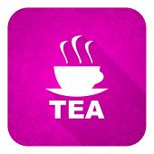 tea violet flat icon, christmas button, hot cup of tea sign