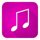 music violet flat icon, christmas button, note sign