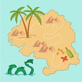 Hand Drawn Vector Illustration - Treasure Map And Design Elements (mountains,   Palm, Dragon, Sea Et