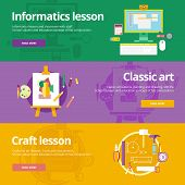 Set of flat design concepts for informatics, classic art, craft lessons. Education concepts for web