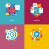 Set of flat design concept icons for business and marketing. Icons for business, consultation, plann