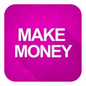make money violet flat icon, christmas button