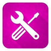 tools violet flat icon, christmas button, service sign