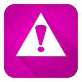 exclamation sign violet flat icon, christmas button, warning sign, alert symbol