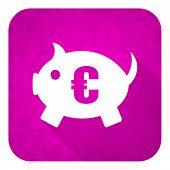 piggy bank violet flat icon, christmas button