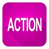 action violet flat icon, christmas button