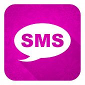 sms violet flat icon, christmas button, message sign