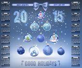 Calendar With Christmas Snow Glass Crystal Balls On 2015 In Vector