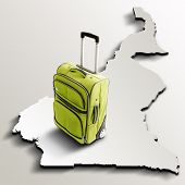 Travel To Cameroon. Green Suitcase On 3D Map Of The Country