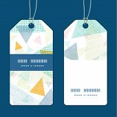 Vector abstract fabric triangles vertical stripe frame pattern tags set