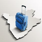 Travel To Burundi. Blue Suitcase On 3D Map Of The Country