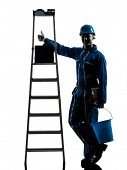 one  repairman worker silhouette in studio on white background