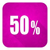 50 percent violet flat icon, christmas button, sale sign